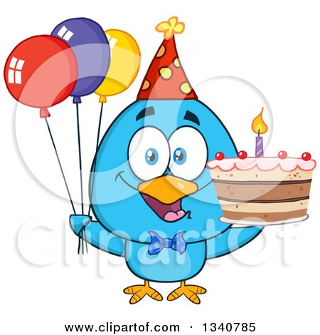 Clipart of a Cartoon Blue Bird Wearing a Party Hat and Holding Balloons and a Birthday Cake - Royalty Free Vector Illustration by Hit Toon
