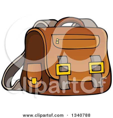 Clipart of a Cartoon Brown School Bag - Royalty Free Vector Illustration by visekart