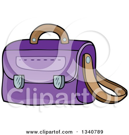 Clipart of a Cartoon Purple School Bag - Royalty Free Vector Illustration by visekart