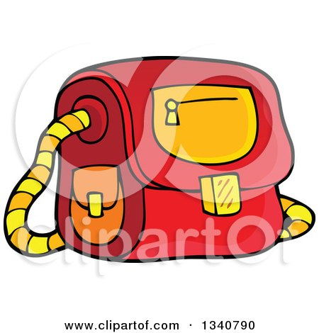 Clipart of a Cartoon Red School Bag - Royalty Free Vector Illustration by visekart