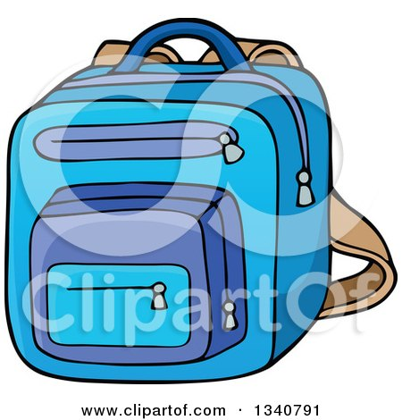 Clipart of a Cartoon Blue School Backpack Bag - Royalty Free Vector Illustration by visekart
