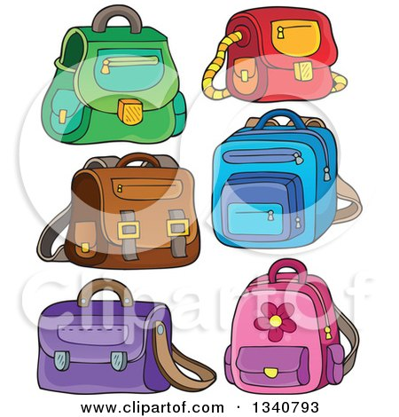 Clipart of Cartoon School Bags - Royalty Free Vector Illustration by visekart