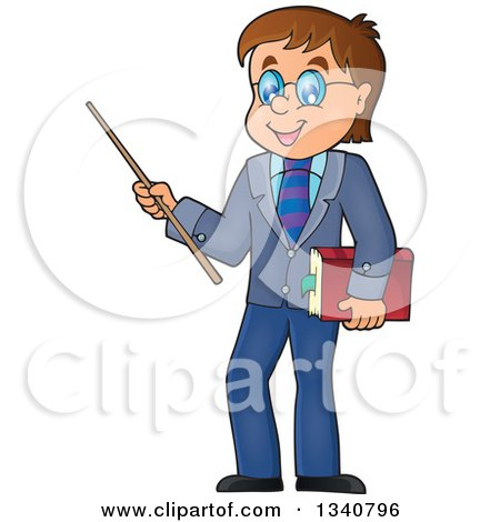 Clipart of a Cartoon Brunette White Male Teacher with Glasses, Holding a Book and Pointer Stick - Royalty Free Vector Illustration by visekart