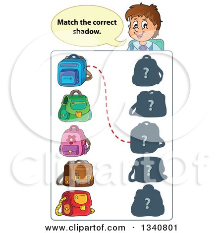 Clipart of a Cartoon Brunette White Male Teacher over a Backpack Match Game - Royalty Free Vector Illustration by visekart
