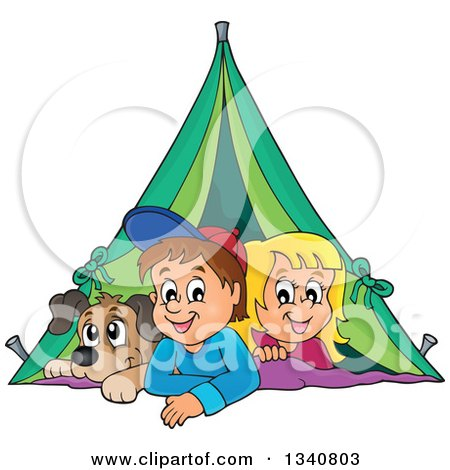 Clipart of a Cartoon Caucasian Dog, Boy and Girl Resting in a Tent While Camping - Royalty Free Vector Illustration by visekart