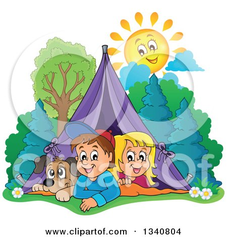 Clipart of a Cartoon Caucasian Dog, Boy and Girl Resting in a Tent While Camping, with a Happy Sun - Royalty Free Vector Illustration by visekart