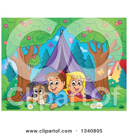 Clipart of a Cartoon Caucasian Dog, Boy and Girl Resting in a Tent While Camping in a Park - Royalty Free Vector Illustration by visekart