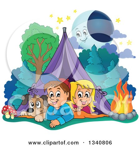 Clipart of a Cartoon Caucasian Dog, Boy and Girl Resting in a Tent While Camping, with a Campfire and Happy Moon - Royalty Free Vector Illustration by visekart