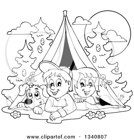 Cartoon Black And White Dog Boy Girl Resting In A Tent While Camping By Visekart