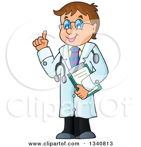 Clipart of a Cartoon Caucasian Male Doctor Holding up a Finger - Royalty Free Vector Illustration by visekart