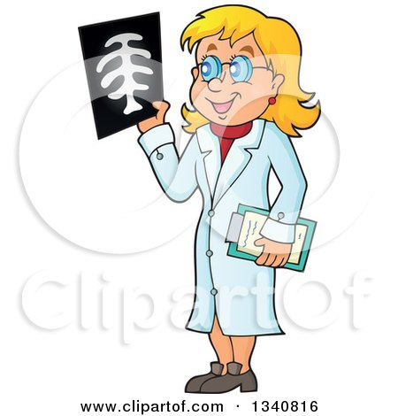 Clipart of a Cartoon Caucasian Female Doctor Holding an Xray - Royalty Free Vector Illustration by visekart
