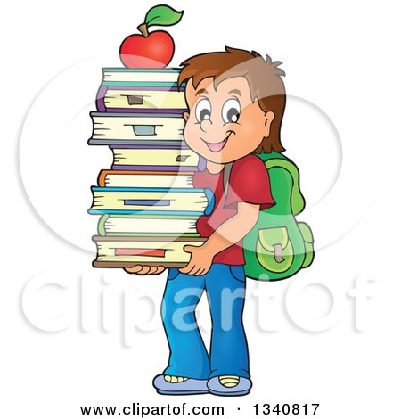 Clipart of a Cartoon Brunette Caucasian School Boy Carrying a Stack of Books with an Apple on Top - Royalty Free Vector Illustration by visekart