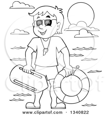 Lineart Clipart of a Cartoon Grayscale Male Lifeguard - Royalty Free Outline Vector Illustration by visekart