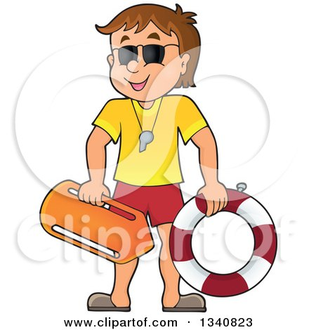 Clipart of a Cartoon Caucasian Male Lifeguard - Royalty Free Vector Illustration by visekart