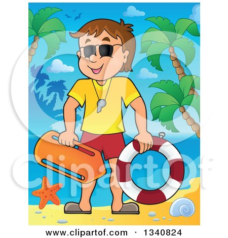 Clipart of a Cartoon Caucasian Male Lifeguard on a Tropical Beach - Royalty Free Vector Illustration by visekart