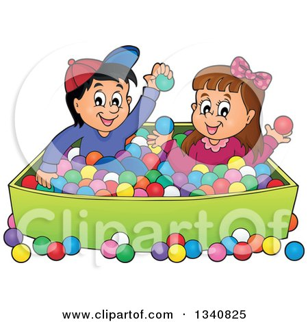 Clipart of a Cartoon Hispanic Boy and White Girl Playing in a Ball Pit - Royalty Free Vector Illustration by visekart
