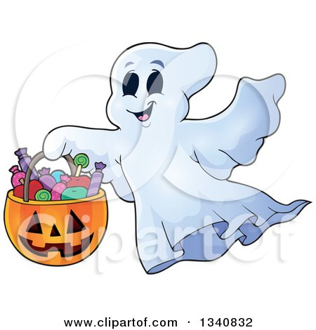 Clipart of a Cartoon Happy Halloween Ghost with a Pumpkin Basket of Candy - Royalty Free Vector Illustration by visekart