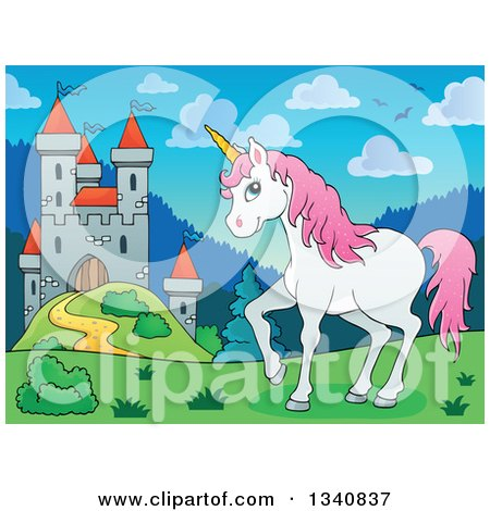 Clipart of a Cartoon Castle and White and Pink Unicorn - Royalty Free Vector Illustration by visekart
