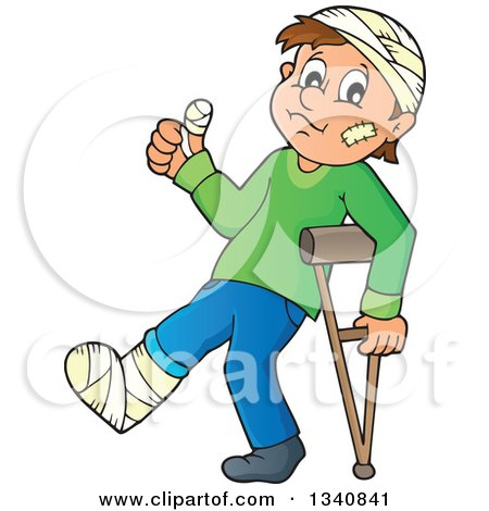 Clipart Illustration of a White Person With A Cast On His Broken ...