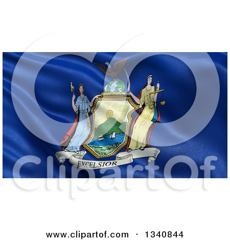 Clipart of a 3d Rippling State Flag of New York, USA - Royalty Free Illustration by stockillustrations