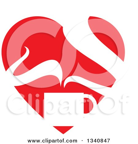 Clipart of a Steaming Hot Coffee Cup in a Red Heart - Royalty Free Vector Illustration by ColorMagic