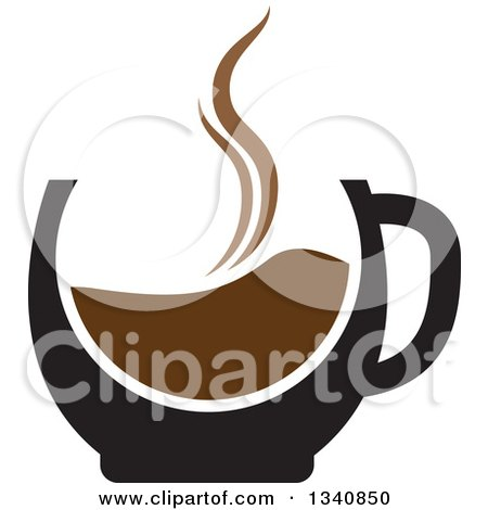 Clipart of a Steaming Hot Coffee Cup - Royalty Free Vector Illustration by ColorMagic