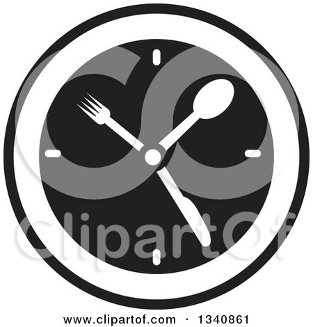 Clipart of a Black and White Wall Clock with Silverware Hands - Royalty Free Vector Illustration by ColorMagic