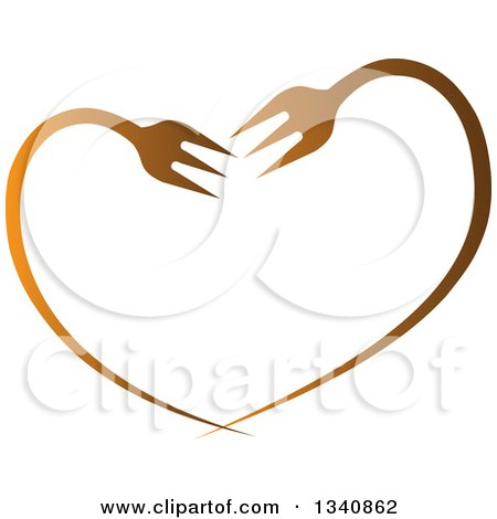 Clipart of a Gradient Heart Made of Bent Forks - Royalty Free Vector Illustration by ColorMagic