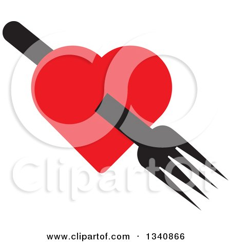 Clipart of a Black Fork Through a Red Heart - Royalty Free Vector Illustration by ColorMagic
