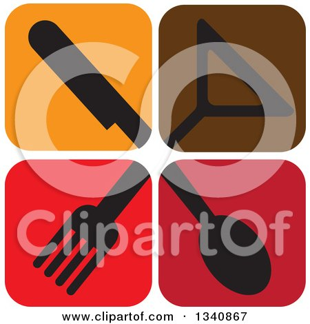 Clipart of Icon Tiles with Silhouetted Silverware and a Cocktail Glass - Royalty Free Vector Illustration by ColorMagic