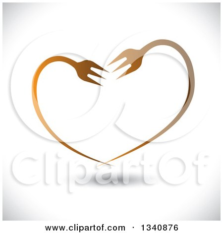 Clipart of a Gradient Heart Made of Bent Forks over Shading - Royalty Free Vector Illustration by ColorMagic