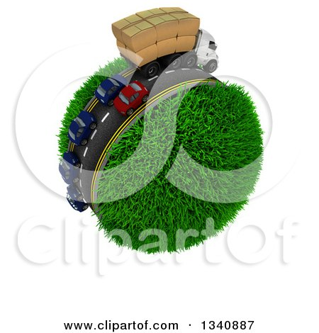Clipart of a 3d Roadway with a Big Rig Truck Transporting Boxes, and Cars Driving Around a Grassy Planet, on White - Royalty Free Illustration by KJ Pargeter
