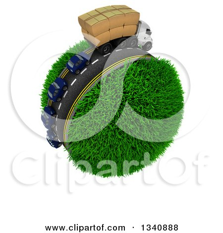 Clipart of a 3d Roadway with a Big Rig Truck Transporting Boxes, and Cars Driving Around a Grassy Planet, on White 2 - Royalty Free Illustration by KJ Pargeter