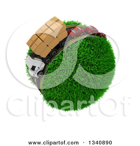 Clipart of a 3d Roadway with a Big Rig Truck Transporting Boxes, and Cars Driving Around a Grassy Planet, on White 3 - Royalty Free Illustration by KJ Pargeter