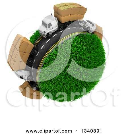 Clipart of a 3d Roadway with Big Rig Trucks Transporting Boxes, Driving Around a Grassy Planet, on White - Royalty Free Illustration by KJ Pargeter