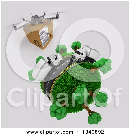Clipart of a 3d Delivery Drone and Roadway with Big Rig Trucks Transporting Boxes, Driving Around a Grassy Planet with Trees, on Shading - Royalty Free Illustration by KJ Pargeter