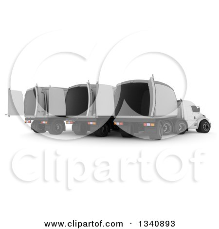 Clipart of a 3d Rear View of a Group of White Big Rig Trucks with Empty Containers, on Shaded White - Royalty Free Illustration by KJ Pargeter