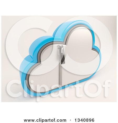 Clipart of a 3d Silver and Blue Zipped Secured Cloud Drive Icon, on off White 2 - Royalty Free Illustration by KJ Pargeter