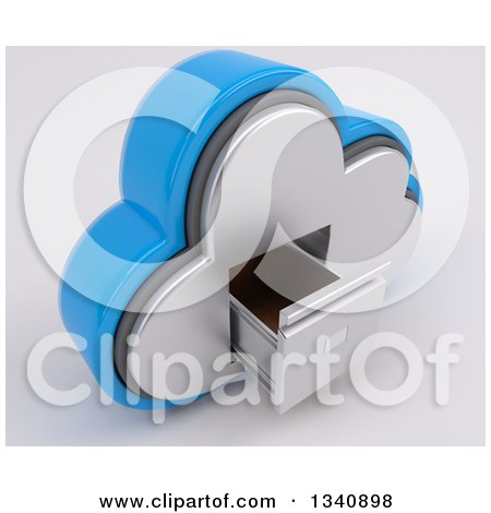 Clipart of a 3d Cloud Icon with an Empty a Filing Cabinet, on off White - Royalty Free Illustration by KJ Pargeter