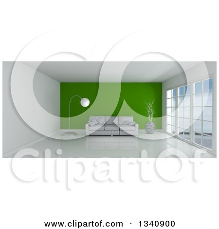 Clipart of a 3d Empty Room Interior with Floor to Ceiling Windows, Furniture and a Green Feature Wall - Royalty Free Illustration by KJ Pargeter