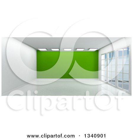 Clipart of a 3d Empty Room Interior with Floor to Ceiling Windows, White Flooring, and a Green Feature Wall - Royalty Free Illustration by KJ Pargeter
