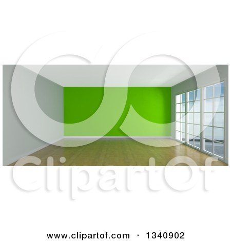 Clipart of a 3d Empty Room Interior with Floor to Ceiling Windows, Wooden Flooring, and a Green Feature Wall - Royalty Free Illustration by KJ Pargeter