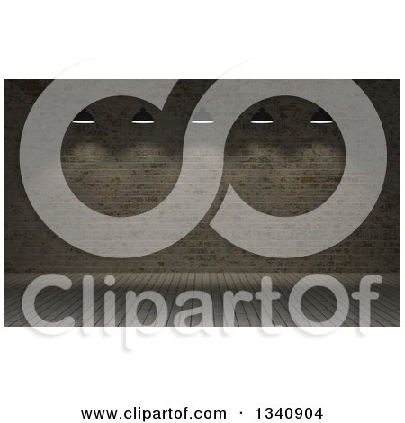 Clipart of a 3d Background of a Dark Room with Suspended Lights, Wood Floors and Brick Walls 3 - Royalty Free Illustration by KJ Pargeter