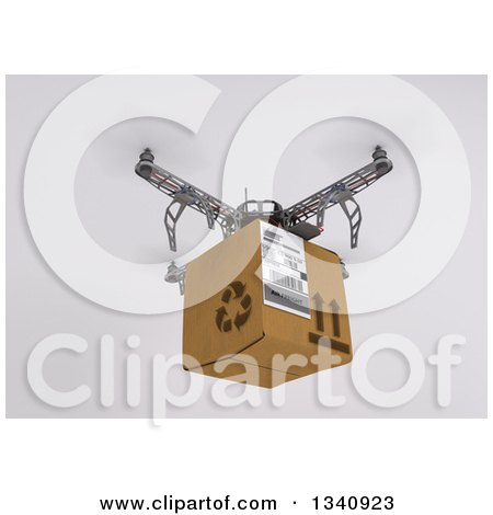 Clipart of a 3d Metal Quadcopter Drone Flying with a Box on Shading - Royalty Free Illustration by KJ Pargeter