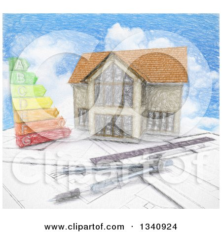Clipart of a Sketched Custom Home with an Energy Chart and Drafting Tools over Blueprints and Sky - Royalty Free Illustration by KJ Pargeter