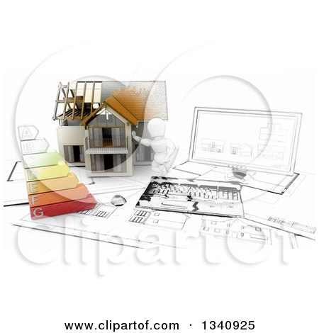 Clipart of a Half Sketch3d, Half 3d White Character Builder with a Home, Desktop Computer, Blueprints and Energy Chart - Royalty Free Illustration by KJ Pargeter