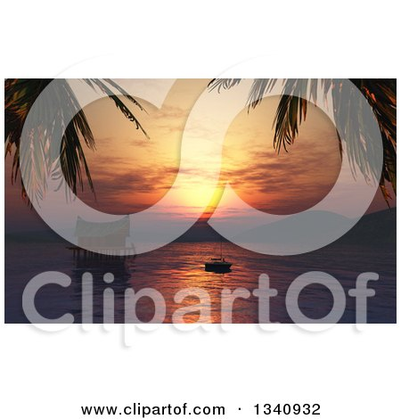 Clipart of a 3d Silhouetted Woman Relaxing on a Boat by a Water Hut at Sunset - Royalty Free Illustration by KJ Pargeter