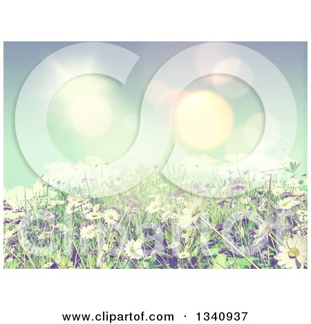 Clipart of a 3d Sunny Spring Background with Blue Sky, Daisies and Grass with Vintage Effect - Royalty Free Illustration by KJ Pargeter