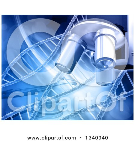 Clipart of a 3d Background of a Microscope, Stethoscope and Dna Strands in Blue - Royalty Free Illustration by KJ Pargeter