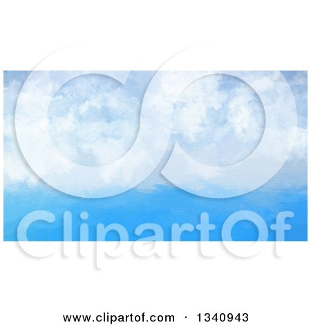Clipart of a Watercolour Painting Styled Blue Sky with Puffy Clouds - Royalty Free Illustration by KJ Pargeter